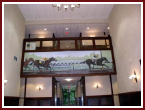 Mural of Seattle Slew painted in a foyer